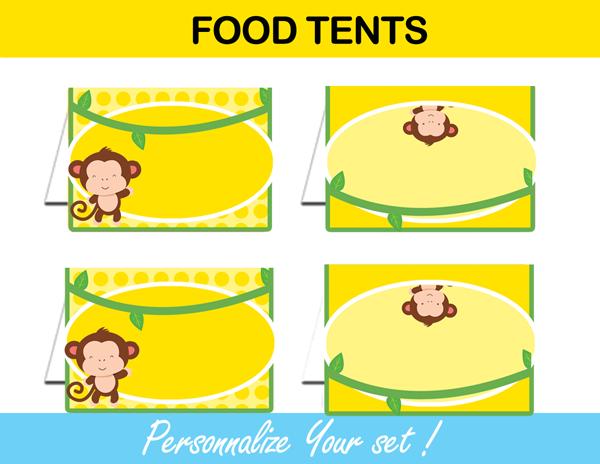 yellow mod monkey tent cards