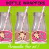 mod monkey bottle labels pink green