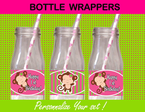 mod monkey bottle labels pink green