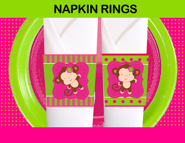 monkey pink green napkins