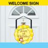 mod monkey door sign yellow