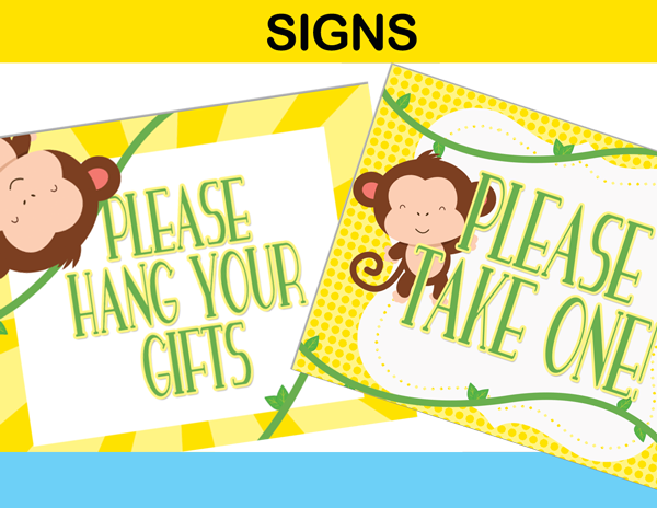 yellow party signs mod monkey
