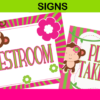 pink and green party signs