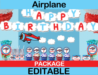 Airplane birthday package for Airplane party decoration ideas