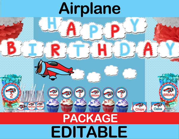 Airplane Party Package Diy Editable Printables Instant