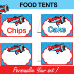 airplane tent cards labels