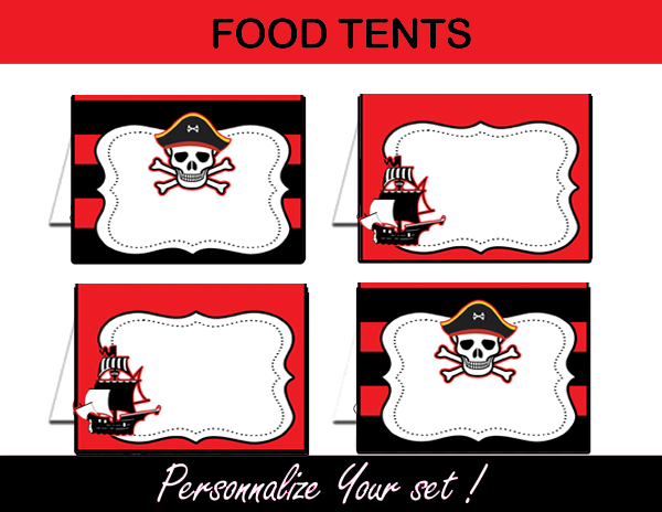 Pirate Boy Black & Red Birthday Party Package – Instant Download