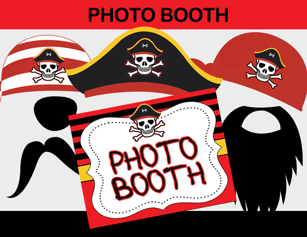 christmas photo booth prop ideas - Pirate Boy Black & Red Birthday Party Package Instant
