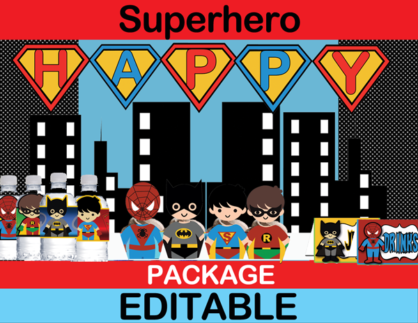 Superhero Kids Party Package – INSTANT DOWNLOAD