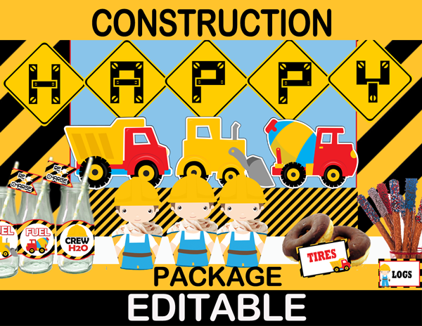 Construction Birthday Party Package Instant Download