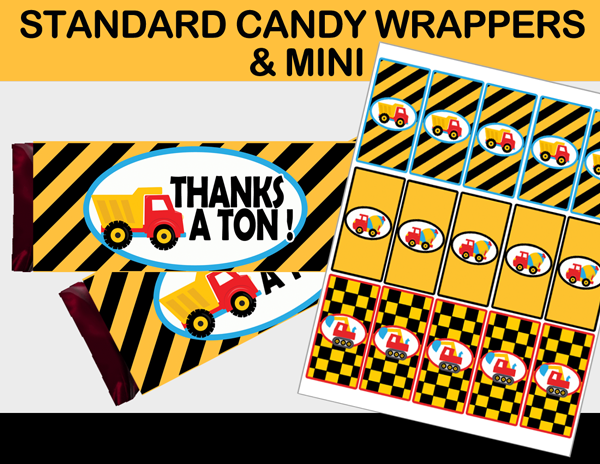 construction candy bar labels