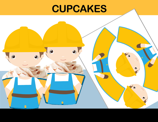construction cupcake toppers wrappers cake decoration