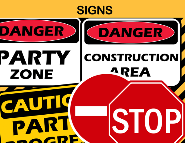 construction party signs