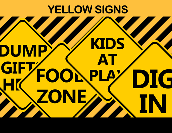 construction party yellow signs