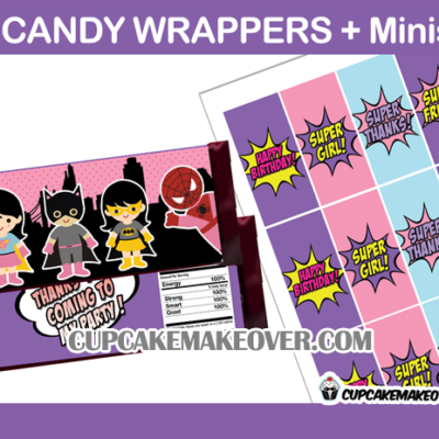 super hero girls candy bar labels