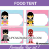 editable food tents girls superhero