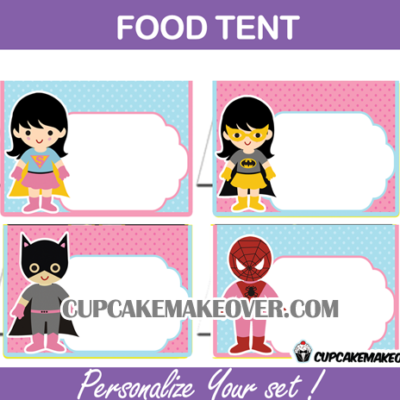 editable food tents girls superhero