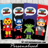 Superhero Avengers printable candy labels