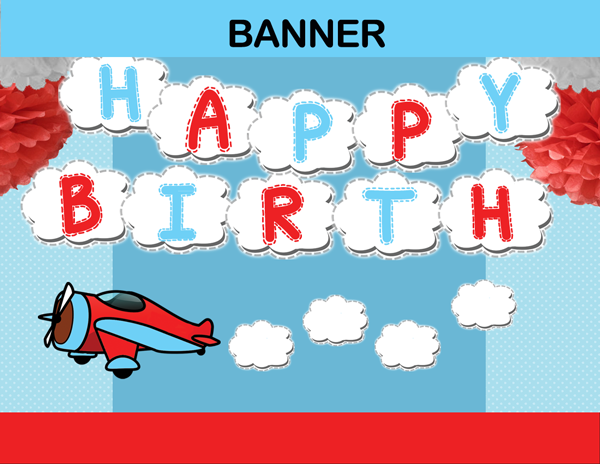 Airplane Birthday Banner INSTANT DOWNLOAD Cupcakemakeover
