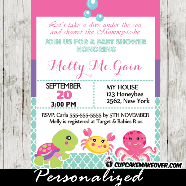 under the sea baby shower invitation card for girls personalized