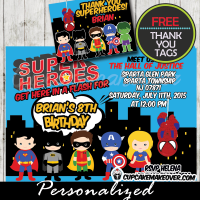 printable superhero birthday party invitation personalized boys