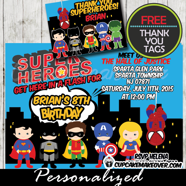 superhero birthday invitation choose your superheroes personalized d5 - Superhero Birthday Party Invitations