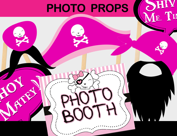 pirates party girl photo booth decorations cut outs goofy pictures