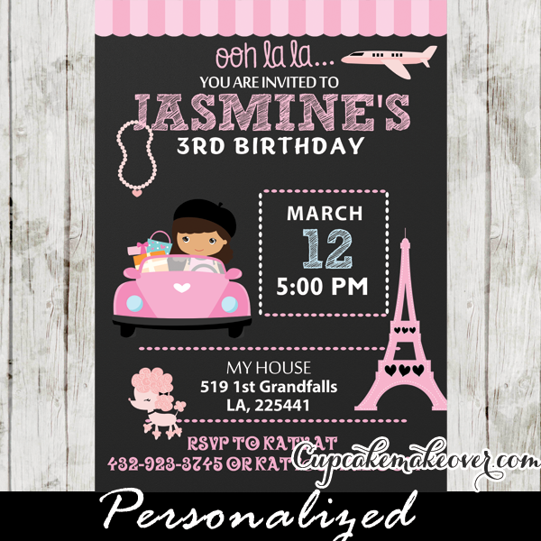 Poodle In Paris Birthday Party Invitation Card Personalized