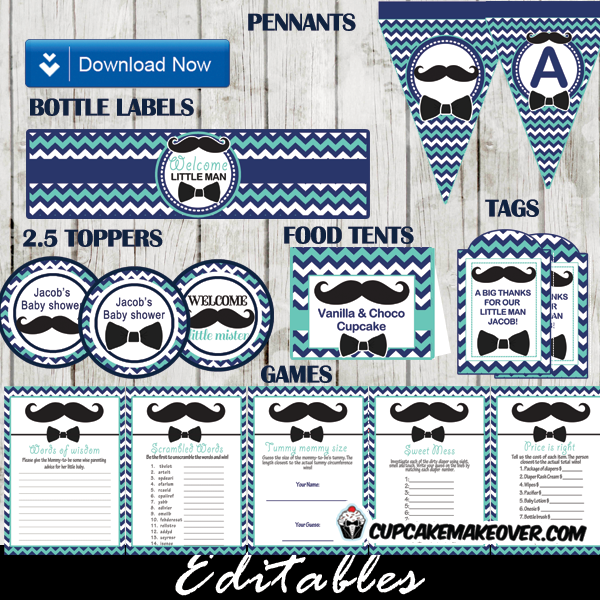 blue turquoise bow tie baby shower mustache bash decorations