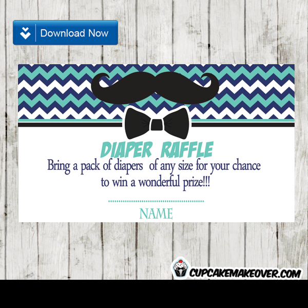 Chevron blue mustache and bow tie diaper raffle tickets instant bow tie baby shower mustache diaper raffle tickets ccuart Choice Image