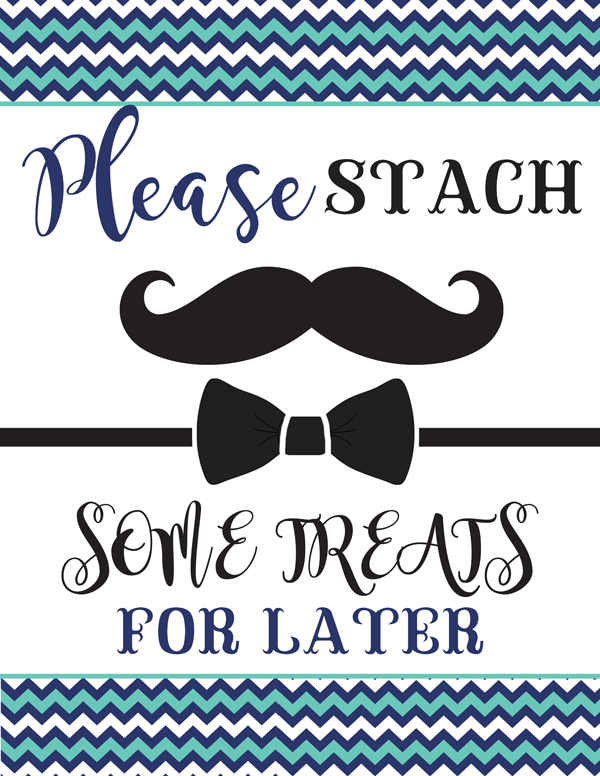 Chevron Blue Mustache And Bow Tie Baby Shower Party Package