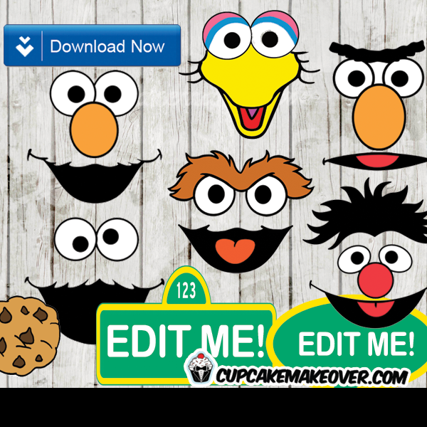 photo relating to Printable Sesame Street Sign identified as Sesame Road Printable Faces Indicators - Prompt Down load