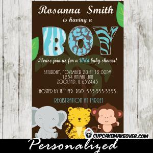 wild safari blue baby shower invitations