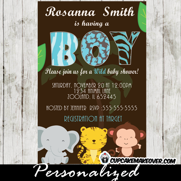 Baby shower invitations archives cupcakemakeover animal print blue safari baby shower invitation personalized filmwisefo
