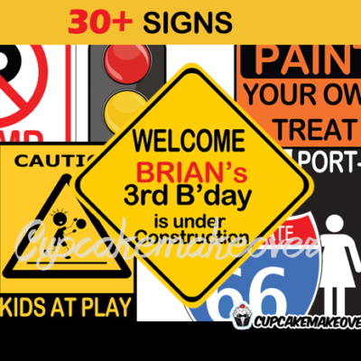 printable construction party signs