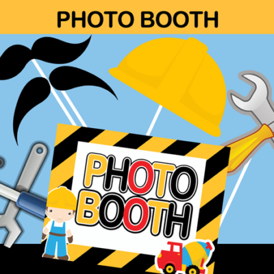 construction tools photo booth props cut out mustache cap hat