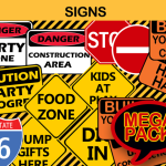 construction birthday party signs yellow orange black interstate