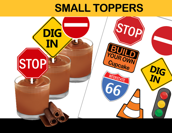 construction zone road signs toppers cupcake