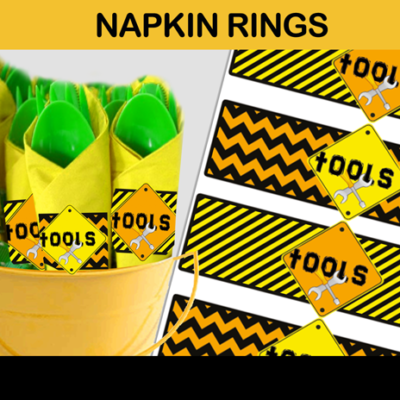 construction party napkin rings tools