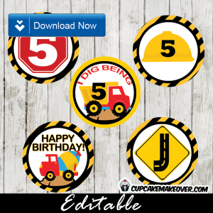 printable construction party cake cupcake toppers editable