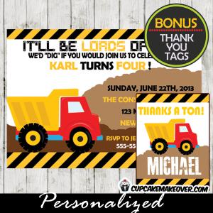 yellow construction truck themed birthday invitation diy