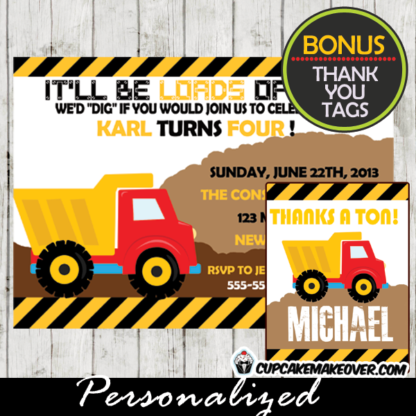 yellow construction truck themed birthday invitation diy