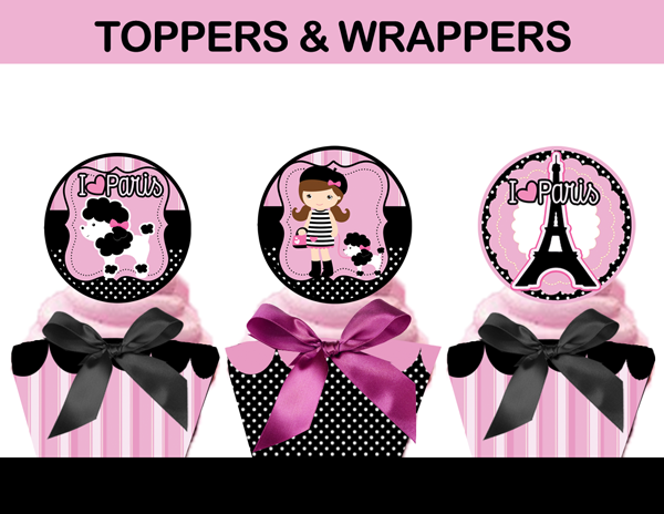paris poodle cupcake toppers wrappers