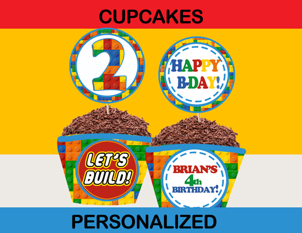 Building Blocks Cupcake Toppers Amp Wrappers Personalized