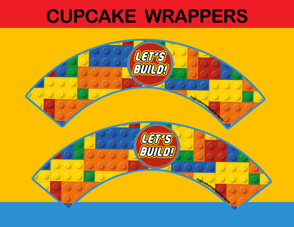 lego bricks cupcake wrappers