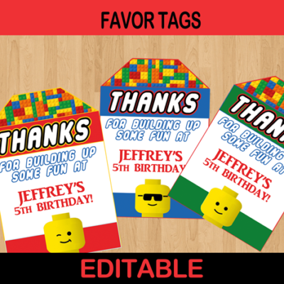 printable editable lego favor tags blocks