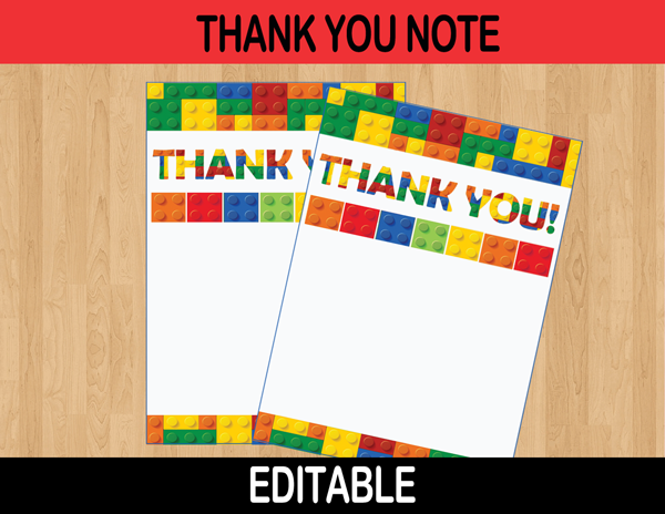 building blocks editable thank you notes instant download