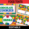 printable lego food labels editable tent cards