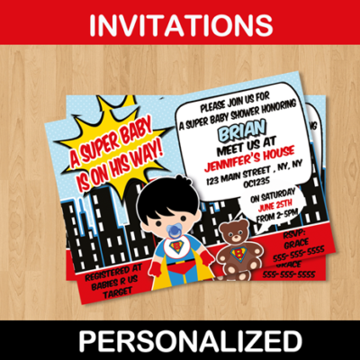 cute custom boy baby shower super hero invitation card