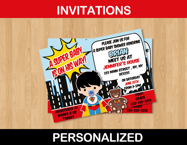 cute custom boy baby shower super hero invitation card